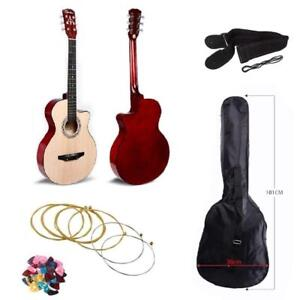 Acoustic Cutaway 38 Inches Guitar Neutral - The perfect gift for a Young Guitarists with Guitar Case/Straps/Pick/Strings