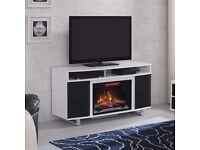 """Enterprise Lite Fireplace TV Stand in Gloss White with 26"""" Infrared Electric Fire - New, sealed box"""