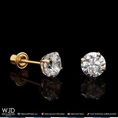 1Ct Created Diamond 14K Yellow Gold Brilliant Cut Screw Back Stud Earrings 5Mm