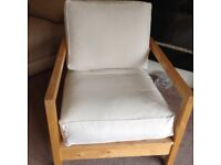 Wood frame chair - thick padded cushions- ideal for bedroom or conservatory
