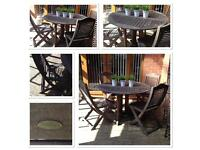 Heavy Teak Garden Table and Chairs .