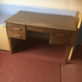 Twin pedestal old desk
