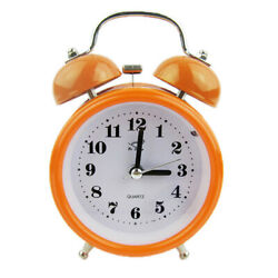 Non-ticking Double Twin Bell Metal Alarm Clock Table Desk Bed Clock Orange