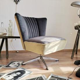 Vintage mid century Swivel German Bartholomew Chair, 1950s Upholstered with Italian Velvet