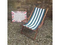 Vintage Green White Striped Dark Stained Wood Wooden deck chair
