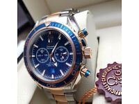 New blue face two tone rose gold strap silver casing Omega Seamaster with chronograph stopwatch move