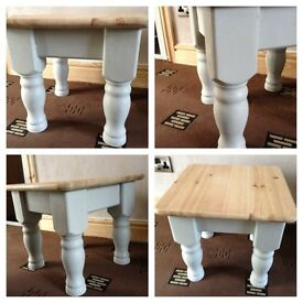 small thick chunky pine coffee table side table shabby chic occasinal table winter grey /waxed