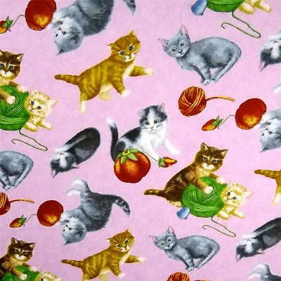 Cotton Fabric Per Yard, For Baby! Cats & Sewing Notions on Pink, by RJR