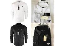 Emporio Armani Long Sleeve Men's White and Black Shirts