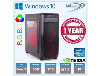 Ultra Fast Quad Core Gaming PC Desktop Core i5 2.5GHz 1TB 16GB RAM Windows 10 + Gaming mouse & kbd
