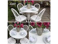 White Round Dining Table & 4 Stencilled Chairs ~ Shabby Chic Vintage