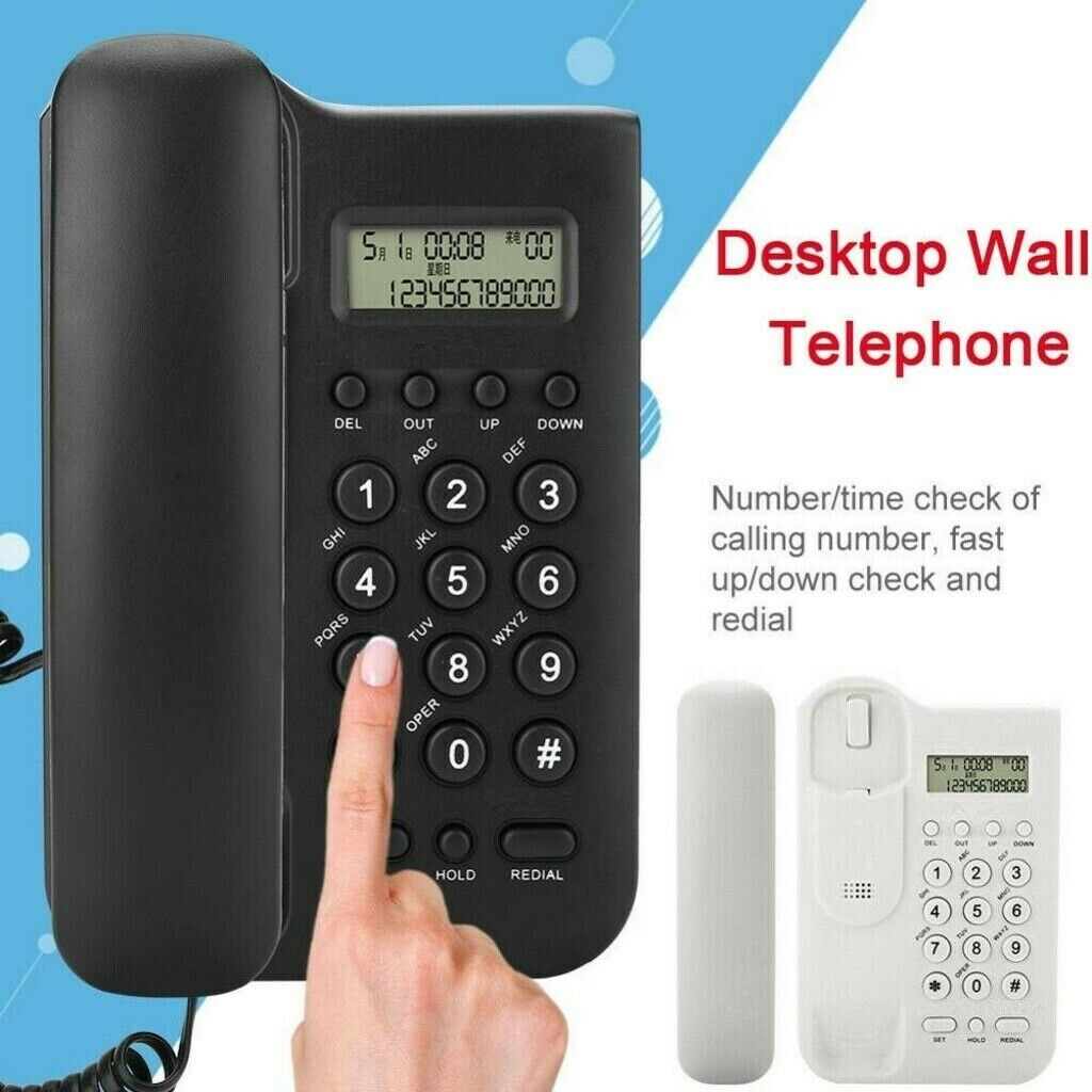 Wall Mounted Corded Home Office Landline Table Phone With Ca