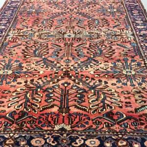 Bakhtiari Vintage Persian Rug, Handmade Carpet, Wool, Pinky, Blue, Green, Navy Blue and Beige Size: 10.4 X 7.1 ft