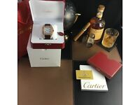 RoseGold Cartier Santos XL with Moissanite Stones Hand clawed Brown leather strap White Face