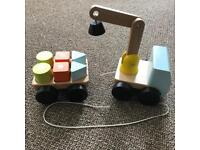 IKEA pull along wooden magnetic truck with blocks