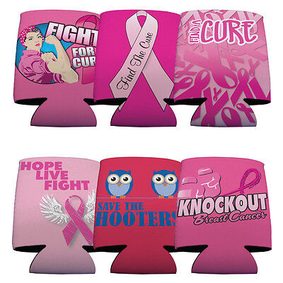 Set of 6 Breat Cancer Awareness Themed Koozies (6 Different Pink Ribbon - Breat Cancer Awareness