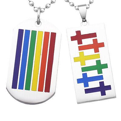 2 Stück Edelstahl Hundemarke Regenbogen LGBT Lesben Gay Pride Halskette ()