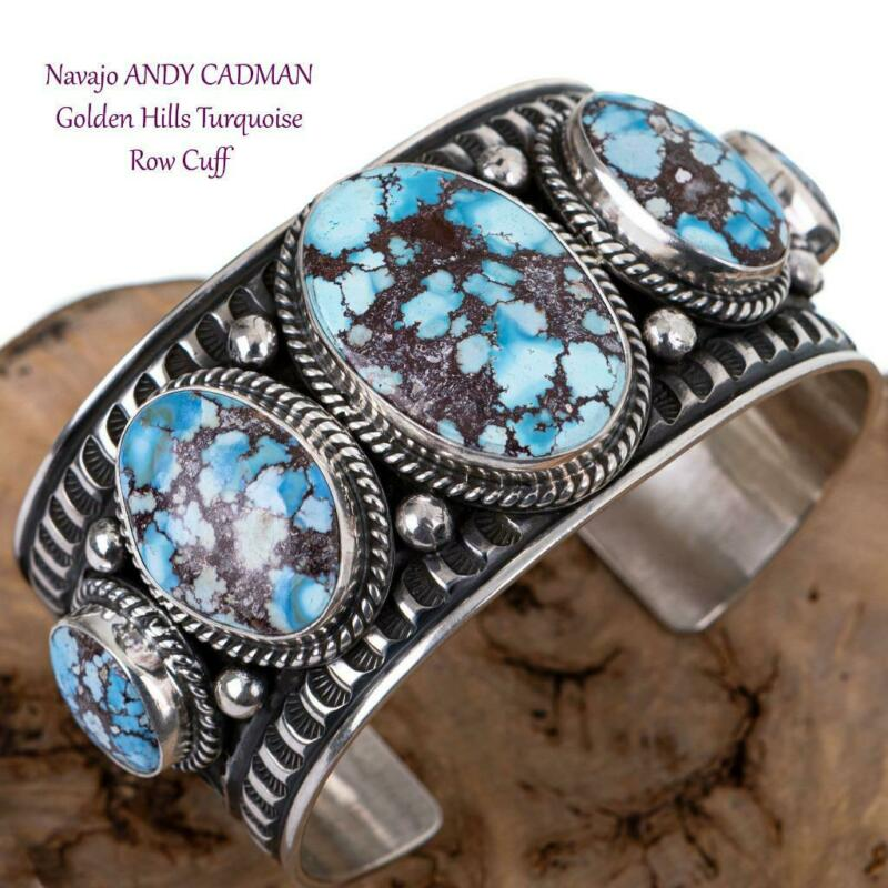 GOLDEN HILL Turquoise Bracelet Sterling Silver ANDY CADMAN Native American CUFF