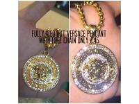 """Fully iced out versace pendant with 30"""" chain diamond chain brand new"""