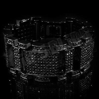 Jet Black Iced Out MicroPave Simulated Diamond Hip Hop Men Adjustable Bracelet 1