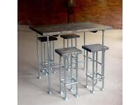 Industrial chic breakfast bar and two stools with chunky rustic wood top - can deliver