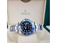 silver rolex Gmt master wuthe blue-black bezel comes boxed with paperwork