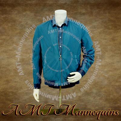 Male Manenquin Torso Metal Base Stand White Half Body Realistic Dress Form