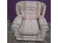 Marriots Biege Patterned Armchair (W)