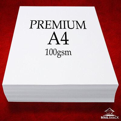100 Sheets A4 PREMIUM 100gsm ULTRA WHITE Paper High Quality Copier Printer Laser