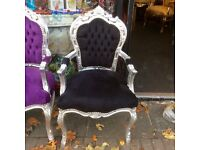 Black & silver French style chair