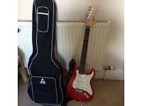 Red Fender Squire- hardly used