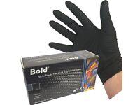 100 x Aurelia Bold Black Nitrile Powder Free Gloves Size XL