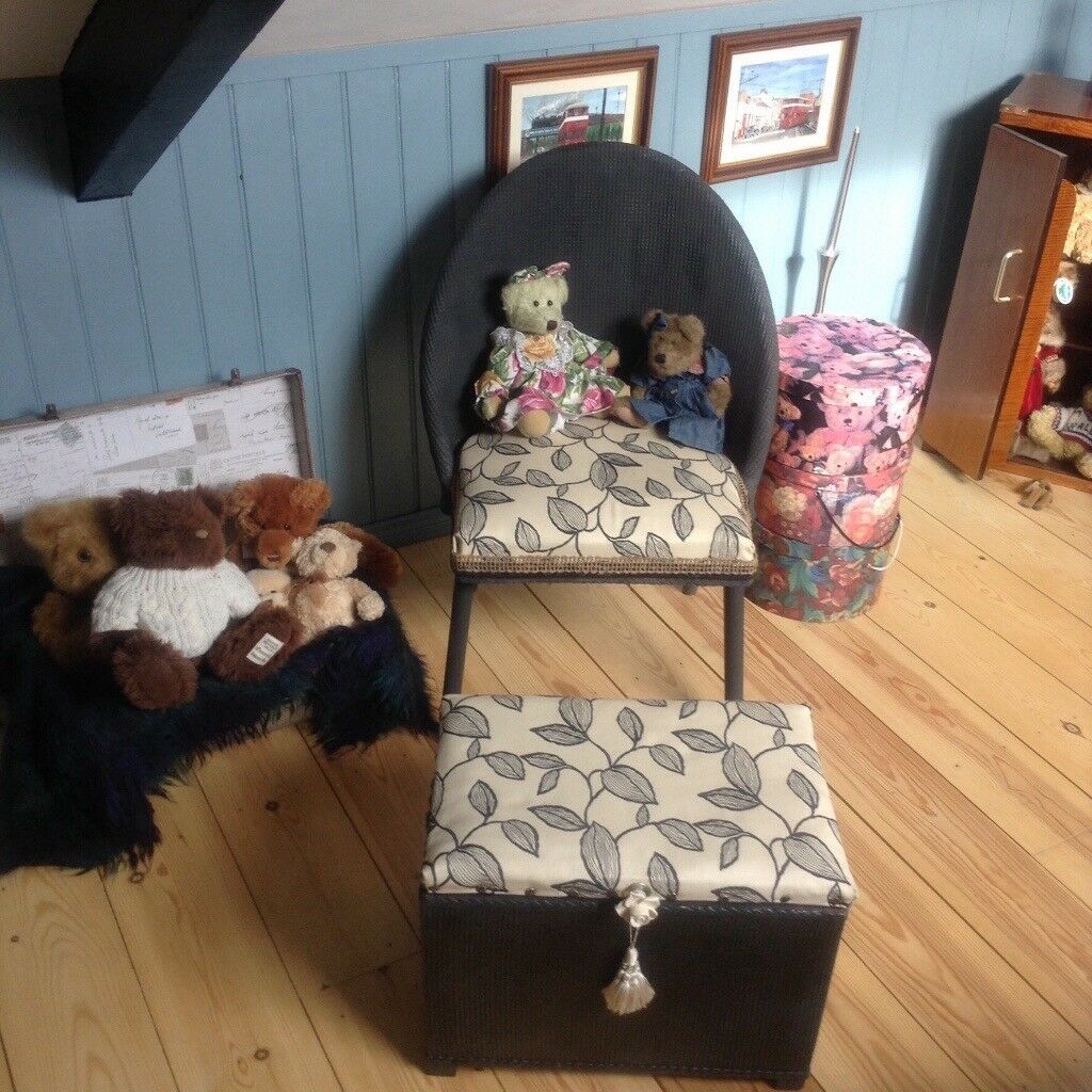 Vintage small bedroom chair and Ottoman