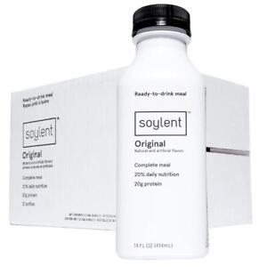 Case of (12) Soylent Meal Replacement Drinks (Original Flavour) - 14oz / 414ml Bottles
