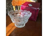 Large cut lead crystal fruit truffle bowl