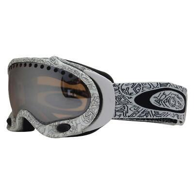 Oakley 01-827 A Frame White Text Black Iridium Lens Mens Boys Snow Ski Goggles .