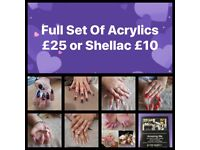 Full set of Acrylics £25 - Shellac only £10