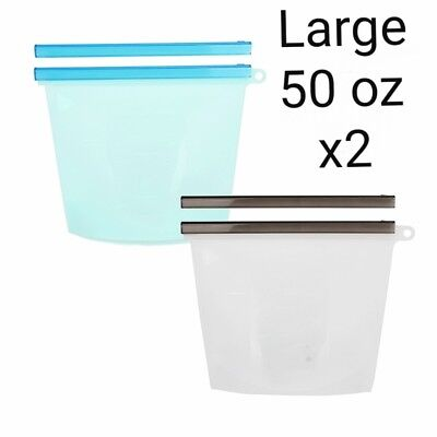 [ LARGE SIZE ]Reusable-Silicone-Food-Storage-Bag BPA FREE / 2 EXTRA SLIDES/2BAG
