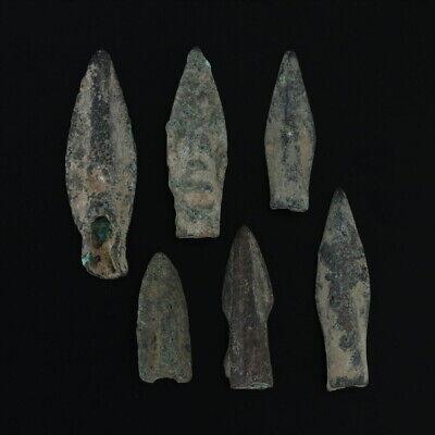 Ancient Weaponry Arrowheads Biblade Rib Blade Pyramid Patinaed Lot of 6