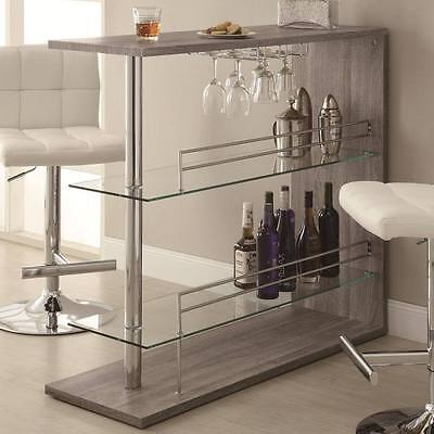 Bar Table with Two Glass Shelves in a Weathered Gray Finish by Coaster 100156 Finished Bar Table