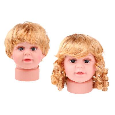 Girl Boy Mannequin Manikin Head Wig Kid Glasses Hat Display 2pcs