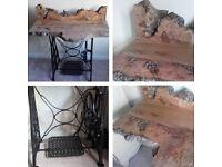 unique singer sewing machine desk table burr elm wood