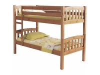 AMERICAN STYLE PINE BUNK BED WITH MATTRESS / CONVERTS INTO TWO SINGLE BEDS