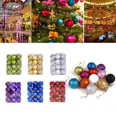 24pcs Christmas Ball Ornaments Xmas Tree Decorations Shatterproof Baubles+Hooks