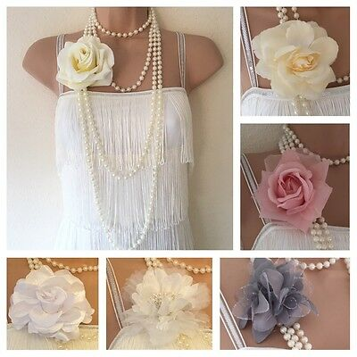 New Flower Faux Pearls Long 20's style Gatsby Flapper Beads Necklace Art Deco