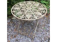 Wrought Iron 69cm Round Heavy Metal Antique Effect Folding Table NEW