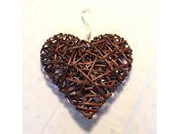 Wicker hanging hearts