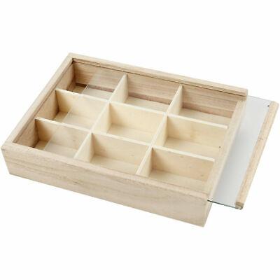 Madera 9 Sección Almacenaje Pantalla Compartimento Caja con Deslizante Cristal