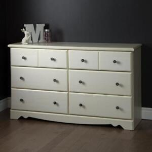 New South Shore Country Poetry 6-Drawer Double Dresser, White Wash PICKUP ONLY - DI1