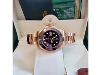 New Mens bagged and boxed gold bracelet with black face Rolex submariner automatic with sweeping
